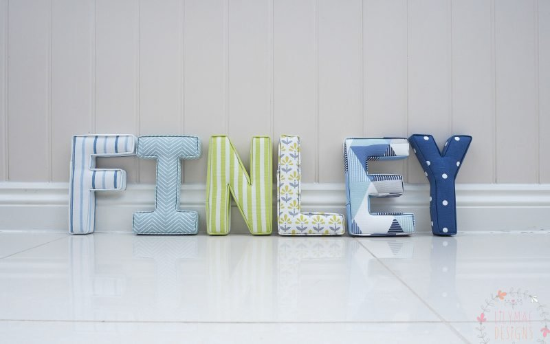 Finley fabric boys letters wall initial . Blue, green, grey and navy nursery decor