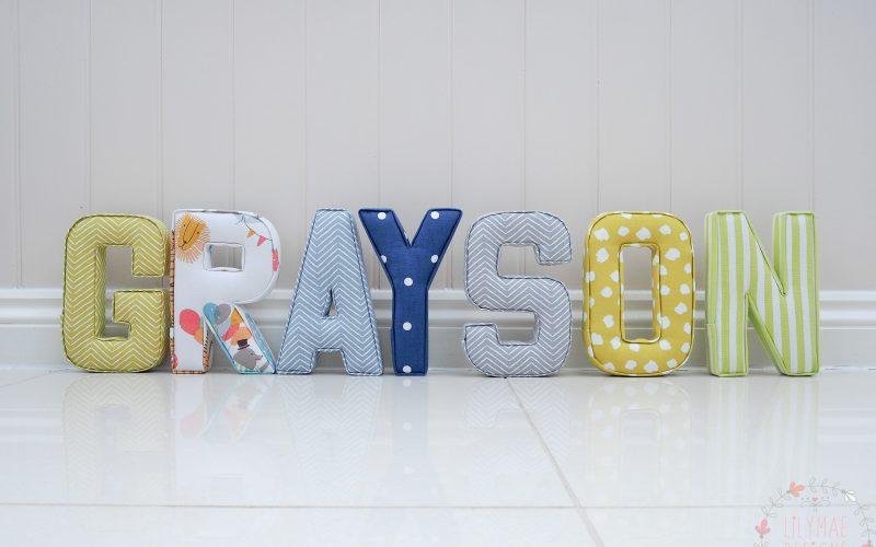 bright boys nursery ideas citrus, citrus, blue, navy, lime green fabric letters