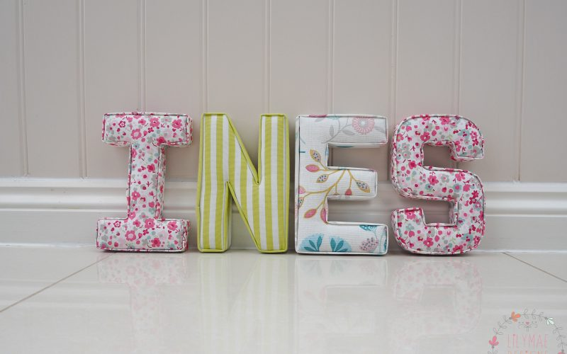 Ines girls name nursery ideas fabric alphabet wall letters. Pinks and greens. Lilymae Designs