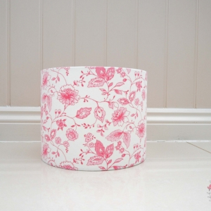 25cm Lampshade made In Studio G Avril Rose pink floral pattern with white background. Lilymae Designs, Lampshades to order