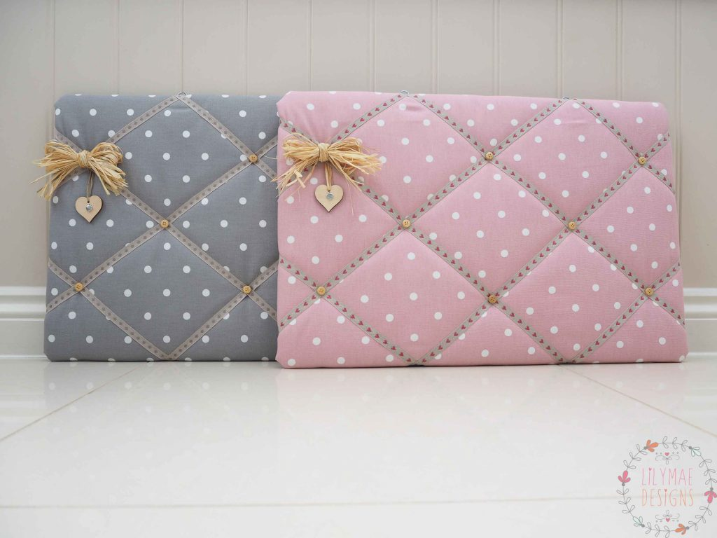 Fabric memo boards handmade to order in Dotty rose and Dotty Smokey Grey. Kitchen Notice board, Christmas present for mum. Lilymae Designs