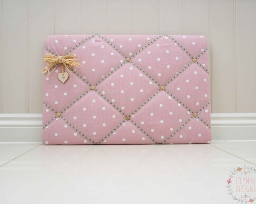 Fabric Memo Board - Pink memory board dotty rose fabric. handmade to order in Colchester Essex. Lilymae Designs. Kitchen notice board