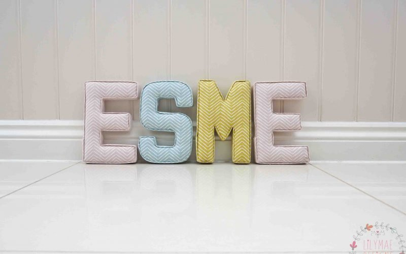 Esme fabric wall letters handmade in pink, yellow and blue themed nursery. Pink chevron fabric, blue chevron fabric, citrus yellow chevron fabric. Lilymae Designs Colchester Essex