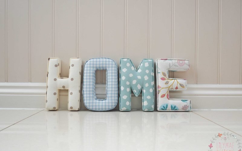 fabric letters spelling the word Home. Lilymae Designs