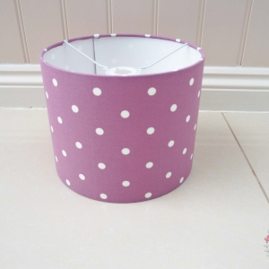 Lampshade made in dotty mauve fabric. Purple with white spots. Handmade to order Colchester Essex