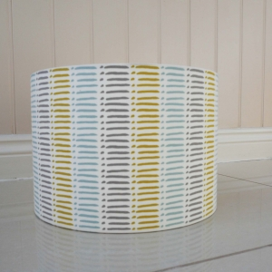 30cm Lampshade made in Dash Mineral fabric, aqua blue, grey and citrus ochre yellow stripes.