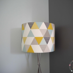 Large 40cm Lampshade Brio Mineral Grey, blue and yellow fabric