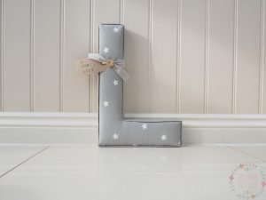 Extra Large Fabric nursery letter grey with white stars twinkle porcelain fabric