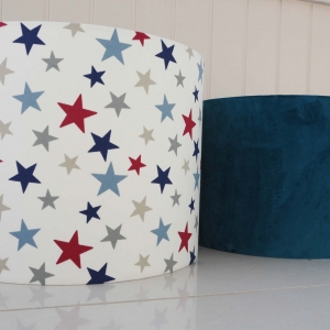 Large lampshade in funky star red fabric, blue, red and grey stars kids lampshade