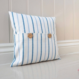 Navy & Blue striped cushion cover maritime beach hut cushions