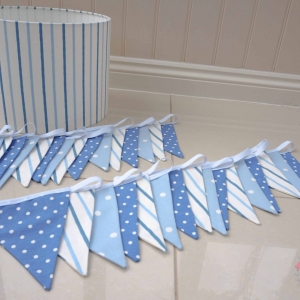 Blue & White bunting and lampshade. Babys nursery