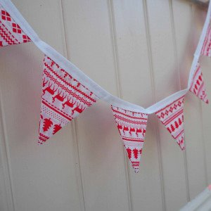 red and white christmas bunting Scandi bunting