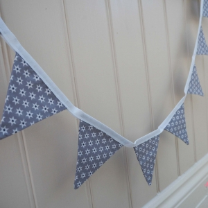 Grey Christmas fabric bunting star bunting