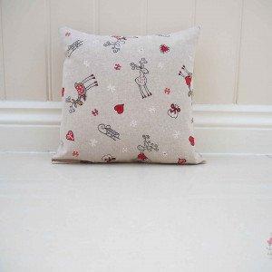 Christmas decoration cushion. Owl, fox, presents handmade