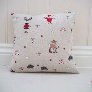Christmas Scatter Cushions, taupe cushion with fox and reindeer