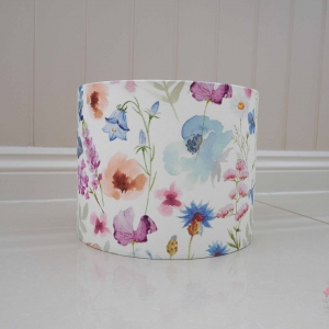 floral lampshade pink blue purple and orange flowers on lampshade