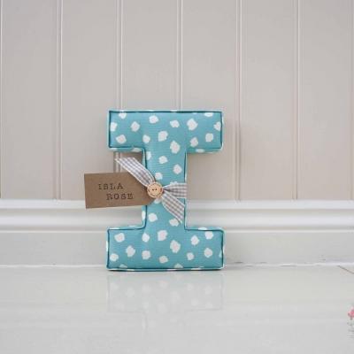 Isla rose blue fabric letter Clio aqua large wall nursery letter lilymae designs