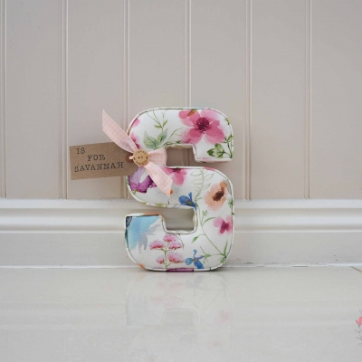 floral fabric wall letter personalised nursery accessory with custom tag is for Savannah Pink flowers, purple flowers, orange floral
