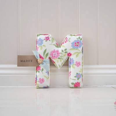 white background pink and blue flowers large fabric letter childrens nursery accessories