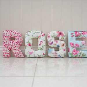 Rose fabric wall letters