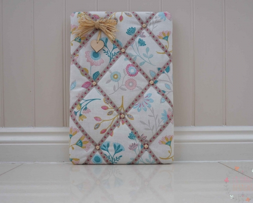 floral fabric memo kitchen notice cork display board mothers day, christmas present for mum