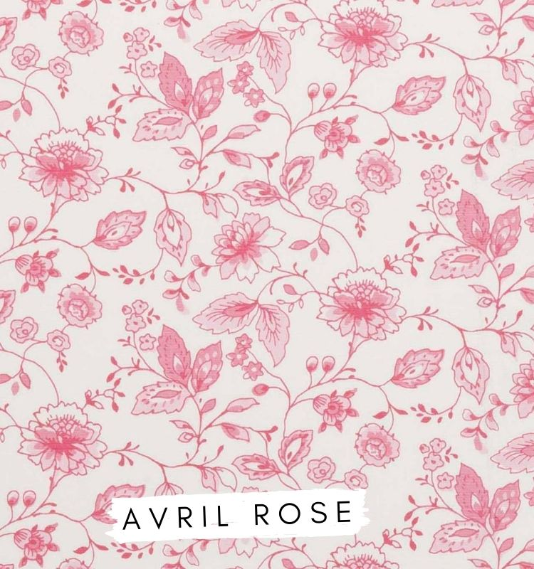 Fabrics for letters Avril Rose Studio G Clarke & Clarke. Pink Floral fabric Lilymae Designs
