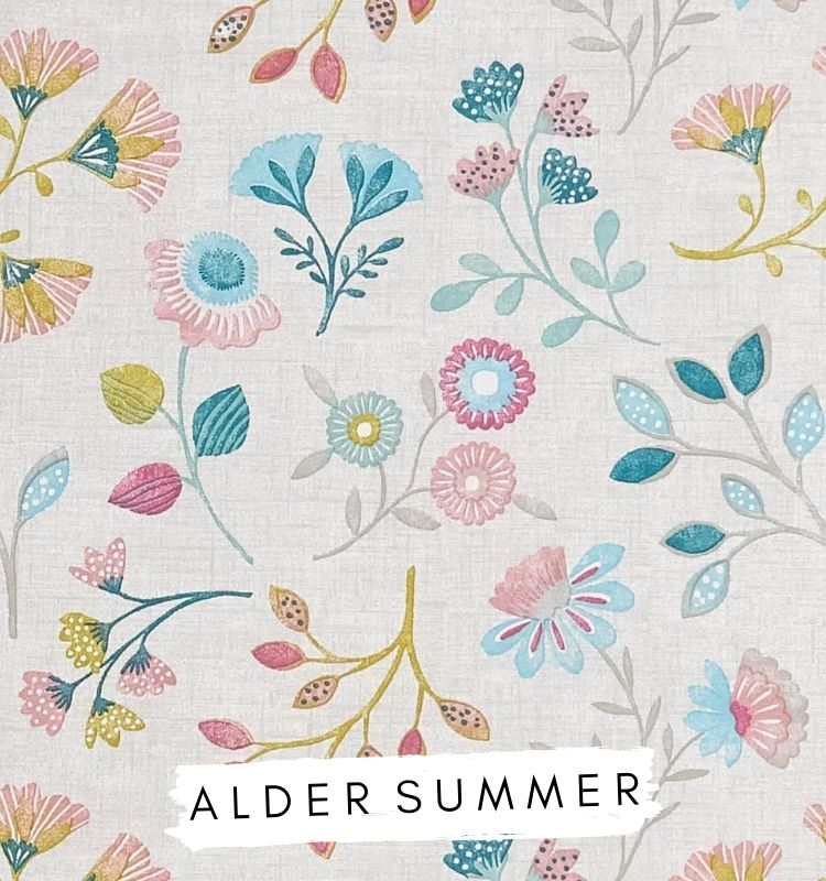 Fabric for letters Alder Summer Studio G Clarke & Clarke fabric. Taupe fabric with blue pink and yellow flowers on. Lilymae Designs
