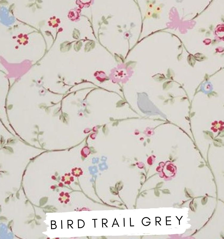 Fabric for letters Bird Trail Grey Studio G Clarke & Clarke. White fabric with grey birds and pink butterlies. Lilymae Designs