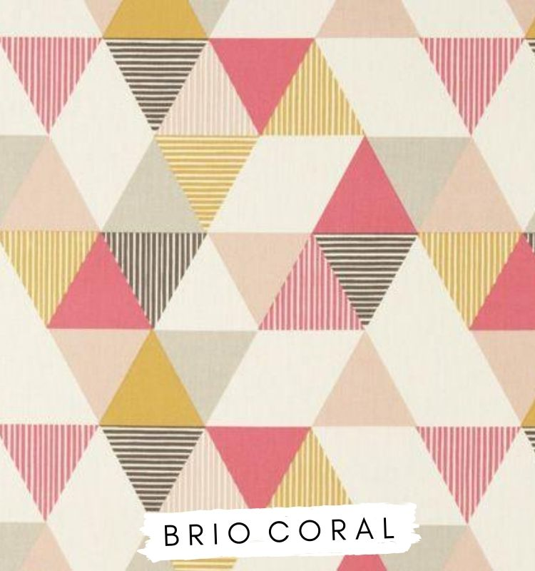 Fabric for letters Brio Coral Studio G Clarke & Clarke. Coral pink, grey and yellow fabric triangle fabric. Lilymae Designs