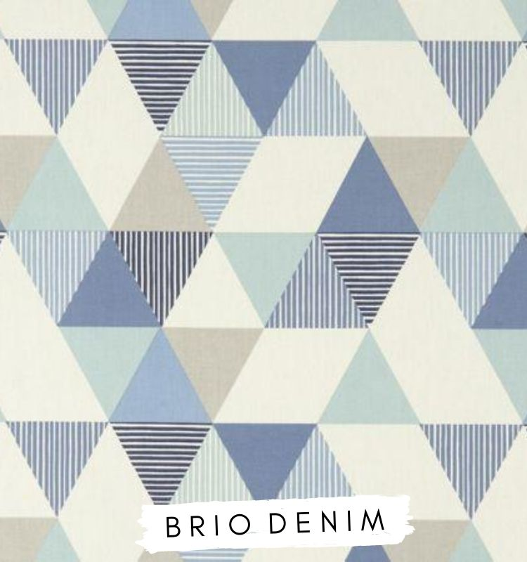 Fabric for letters Brio Denim. Studio G Clarke & Clarke. Navy blue dark blue grey triangle fabric. Lilymae Designs