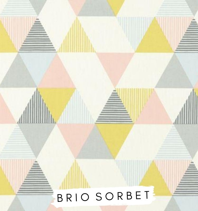 Fabric for letters Brio Sorbet Studio G Clarke & Clarke fabric. Blue pink and yellow triangle fabric Lilymae Designs