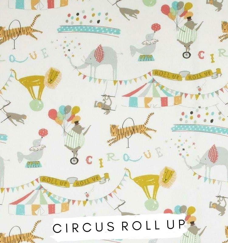 Fabric for letters Circus Roll Up Multi iliv fabric. Circus themed fabric