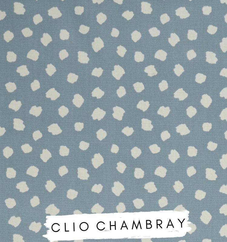 Fabric for letters - Clio Chambray Studio G Clarke & Clarke fabric. Blue with white clouds spots dots on. Lilymae Designs