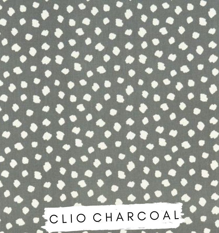 Fabric for Letters Clio Charcoal Fabric Studio G Clarke & Clarke Prestigious Textiles ★ Lilymae Designs Dark grey fabric with white clouds spots dots