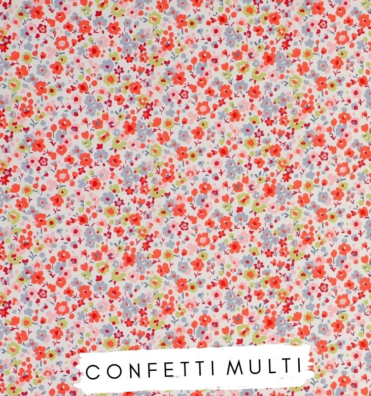 Fabric for letters Confetti Multi Fabric Studio G Red green and grey floral fabric. Lilymae Designs