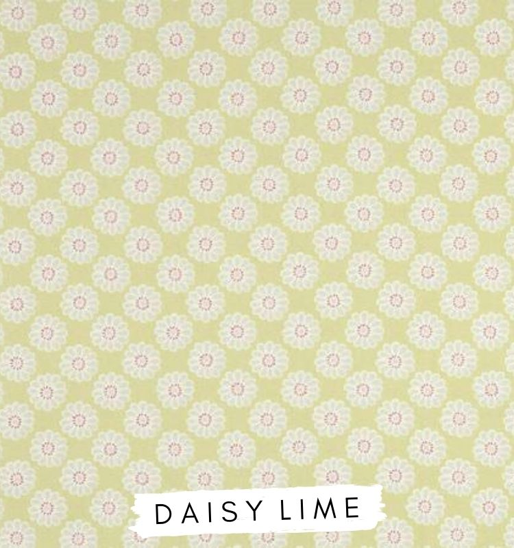 Fabric for letters - Daisy Lime Studio G Green fabric with white and pink daisy's on. Lilymae Designs