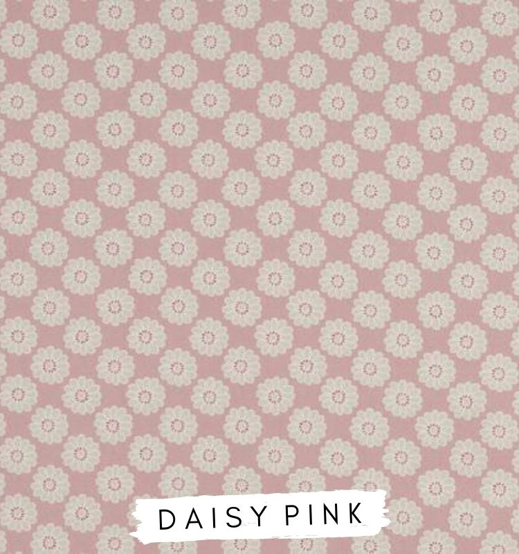 Fabric for letters Daisy Pink Fabric Studio G Clarke & Clarke Prestigious Textiles ★ Lilymae Designs ★ Pink fabric with white daisy detail.