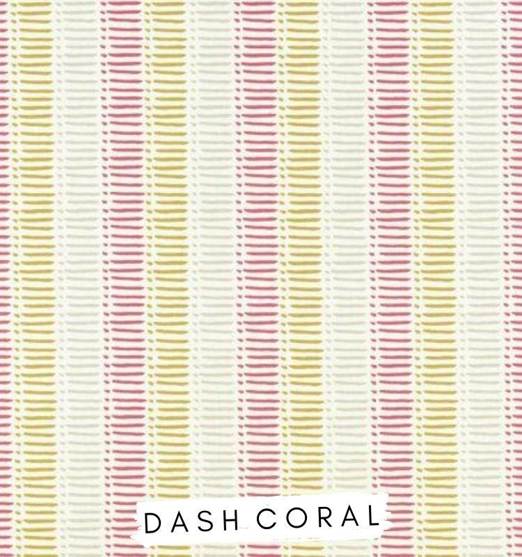 Fabric for letters Dash Coral Fabric Studio G Clarke & Clarke Prestigious Textiles ★ Lilymae Designs ★ Coral pink. yellow, mustard ochre grey dash stripe fabric