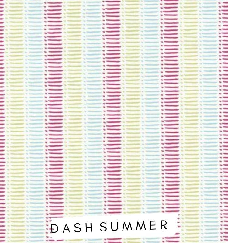 Fabric for letters Dash Summer Fabric Studio G Clarke & Clarke Prestigious Textiles ★ Lilymae Designs ★ Pink, Yellow and blue stripe fabric Bright nursery fabric