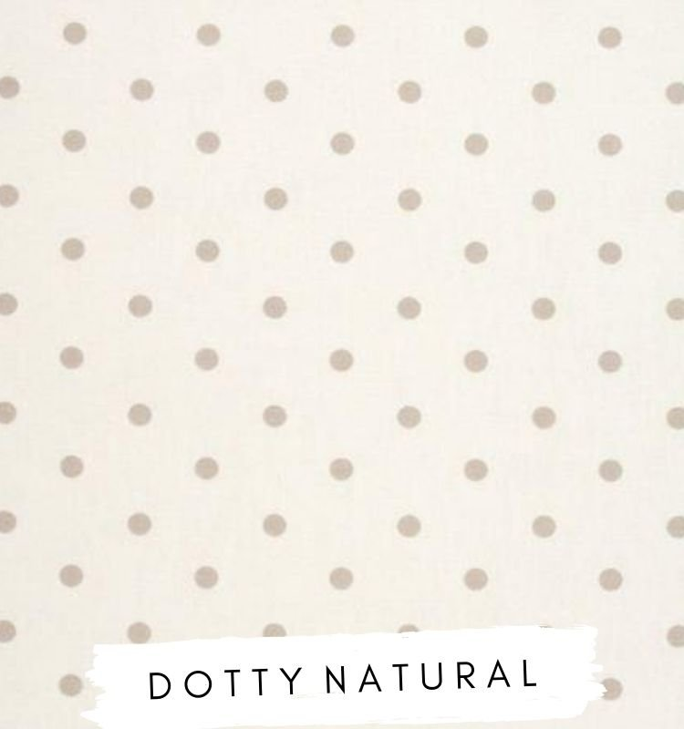 Fabric for letters - Dotty Natural Studio G Clarke & Clarke fabric. White fabric with brown beige taupe dots spots on. Lilymae Designs