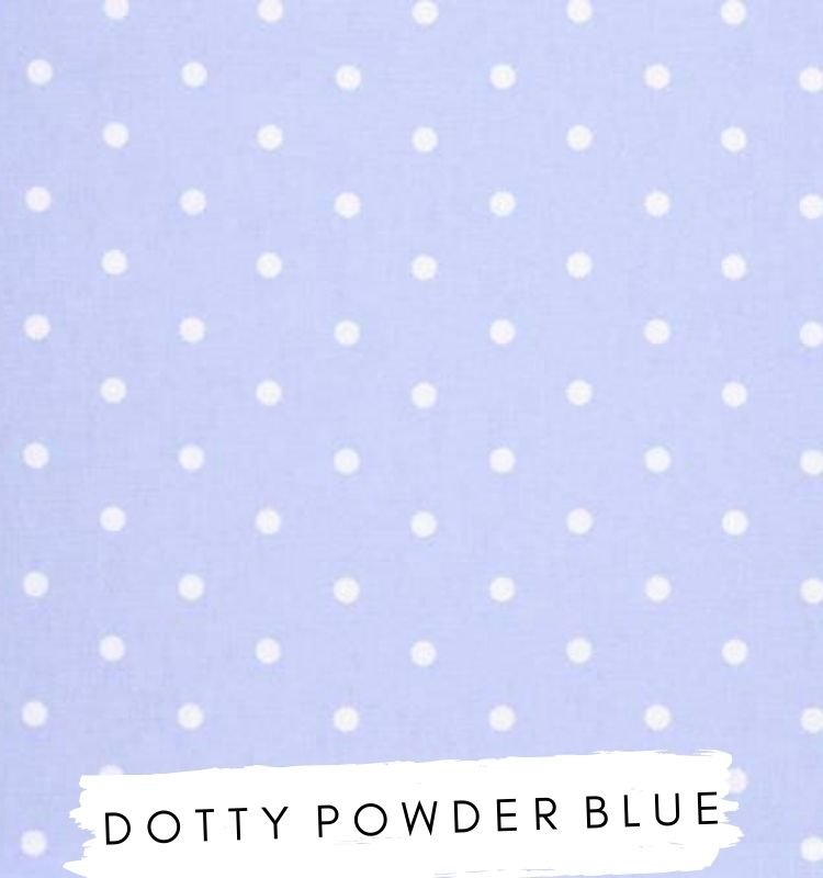 Fabric for letters - Dotty Blue Studio G Clarke & Clarke Pale blue baby blue fabric with white spots. Lilymae Designs