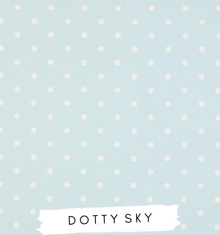 Fabric for letters dotty sky Studio G clarke & Clarke. Baby blue fabric With white spots / dots. Lilymae Designs