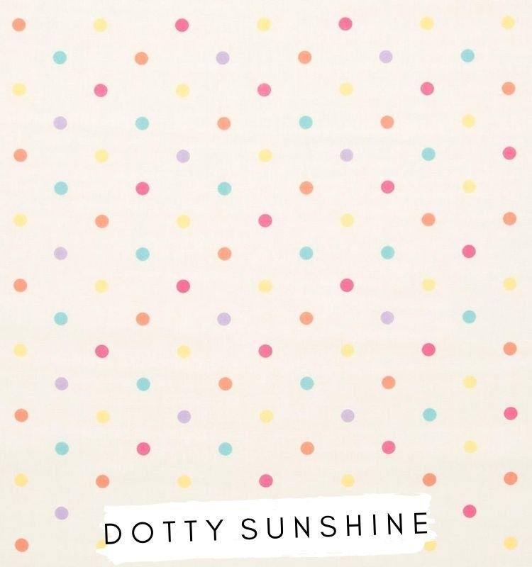 Fabric for letters Dotty sunshine Studio G Clarke & Clarke. White fabric with orange, blue, pink, purple, yellow dots / spots on. Lilymae Designs