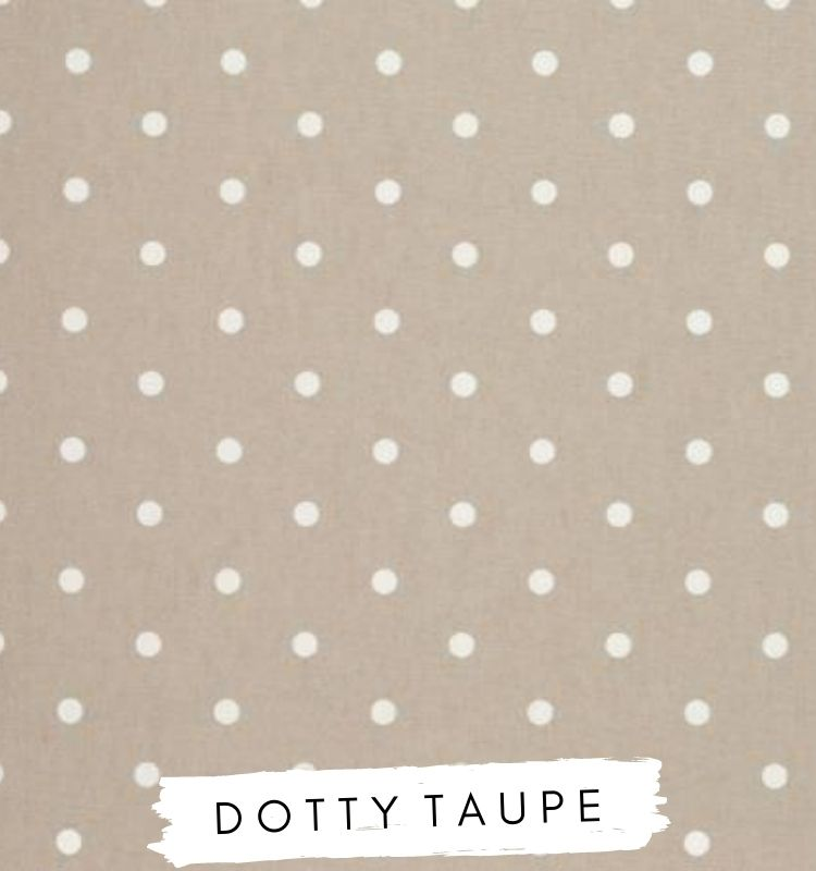 Fabric for letters - Dotty Taupe Fabric Beige with white spots on. Clarke & clarke studio G