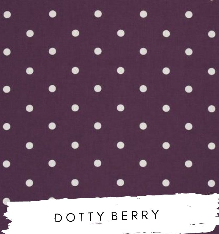 Fabric for letters Dotty Berry Studio G Clarke & Clarke. Purple fabric with white dots spots. Lilymae Designs