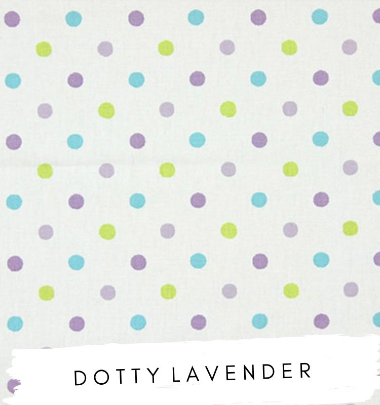 Fabric for letters Dotty Lavender Studio G Clarke & Clarke fabric. White with purple blue and green dots spots Lilymae Designs
