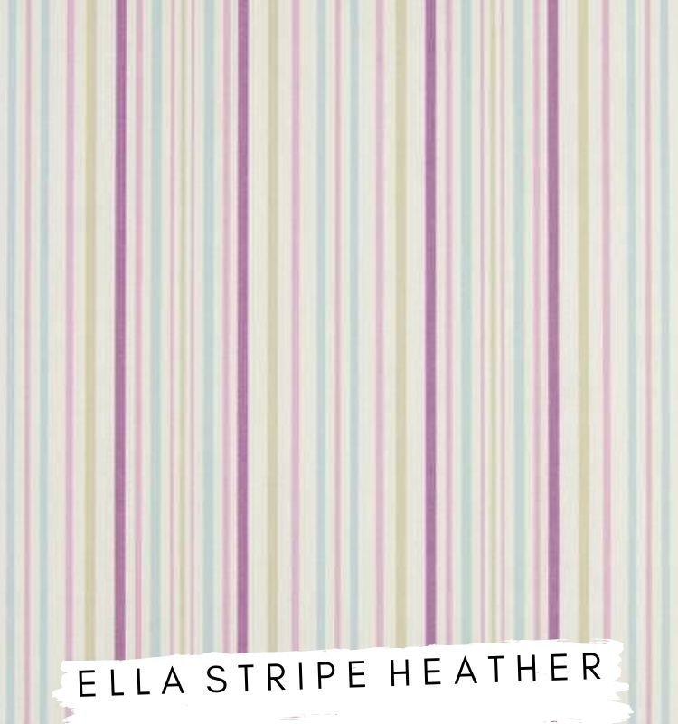 Fabric for letters Ella Stripe Heather Fabric Studio G Clarke & Clarke Prestigious Textiles ★ Lilymae Designs ★ Purple Blue and Green striped fabric