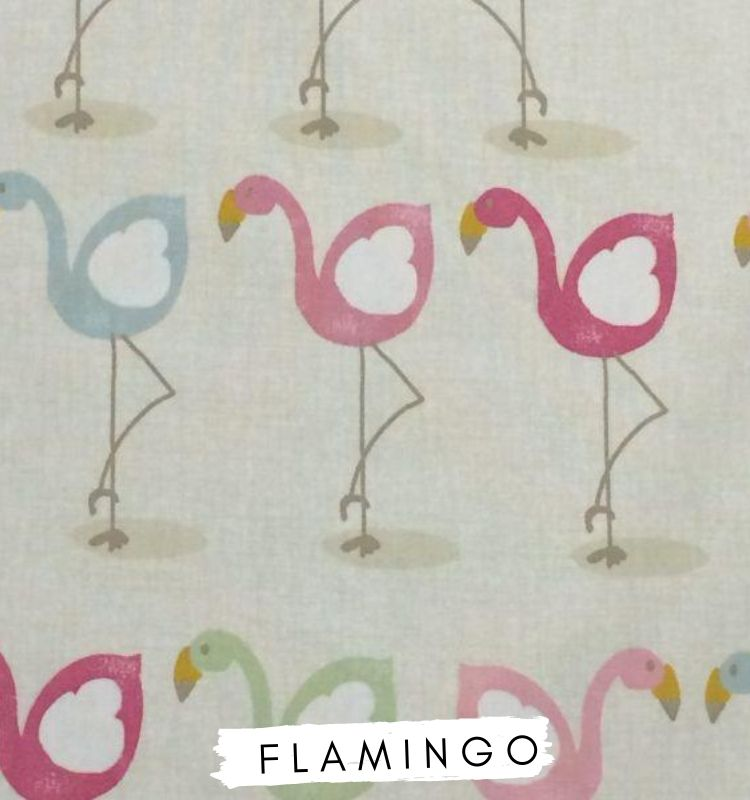 Fabric for letters, Flamingo Fabric Fryetts. Pink, blue and green flamingos on beige fabric. Lilymae Designs.