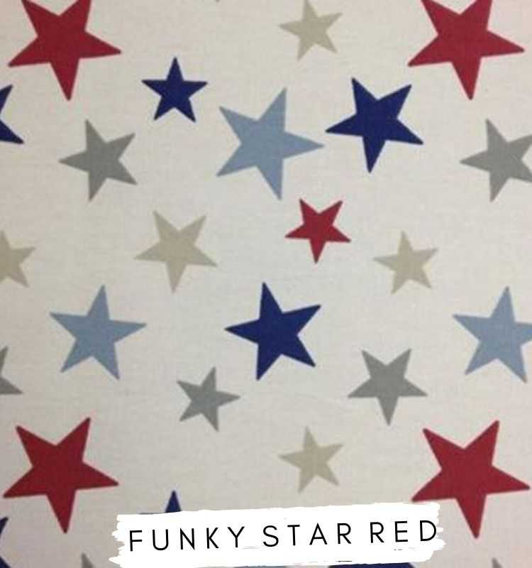 Fabric for letters Funky Stars Red Fabric Marsons Import. White fabric with Red, blue and grey stars on. Lilymae Designs.