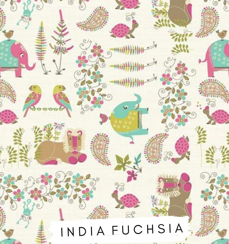 Fabric for letters India Fuchsia ★ Lilymae Designs ★ Fryetts fabric with pink and turquoise Elephants, parrots, turtles, lions. Lilymae Designs